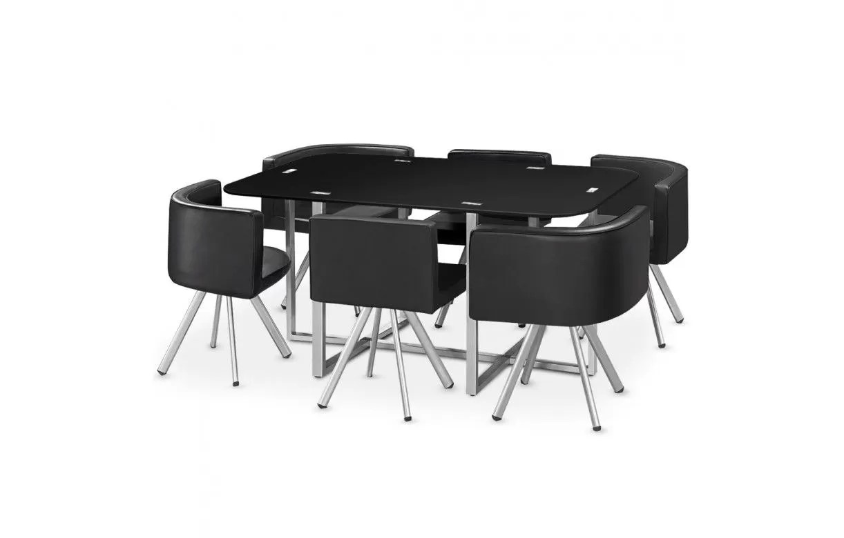 Table 6 Et 7 Ensemble Table Et 6 Chaises Encastrables En Simili Cuir