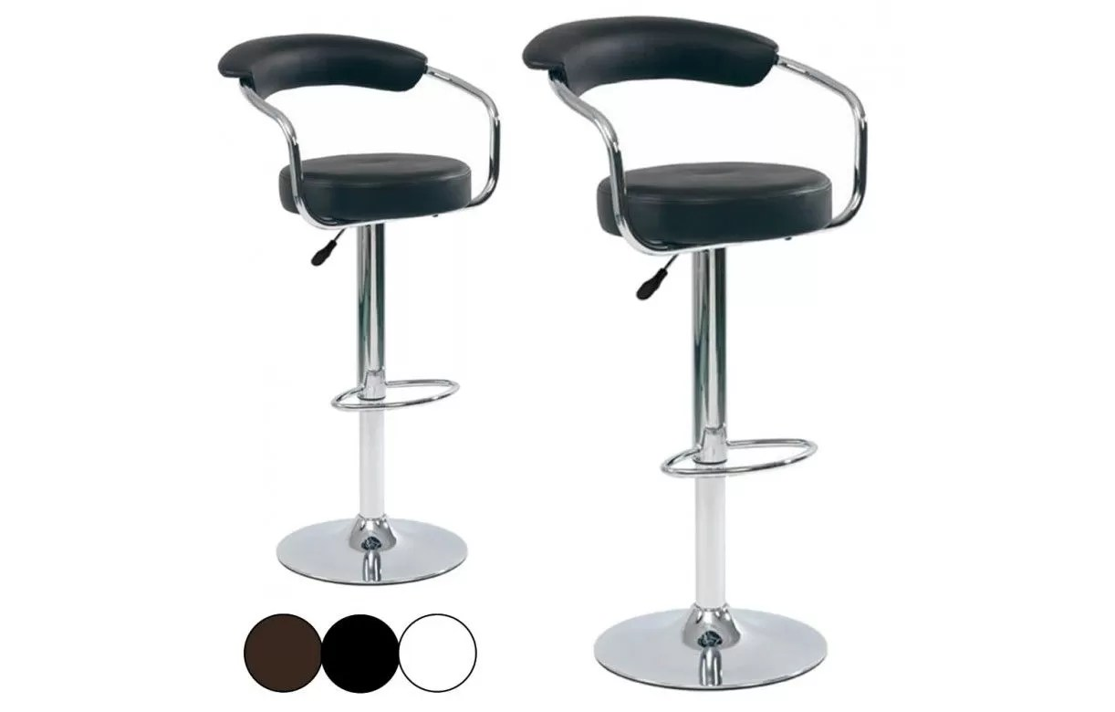 Charly Lot De 2 Tabourets De Bar Blancs Tabouret De Bar Cavalier En Simili Cuir Lot De 2