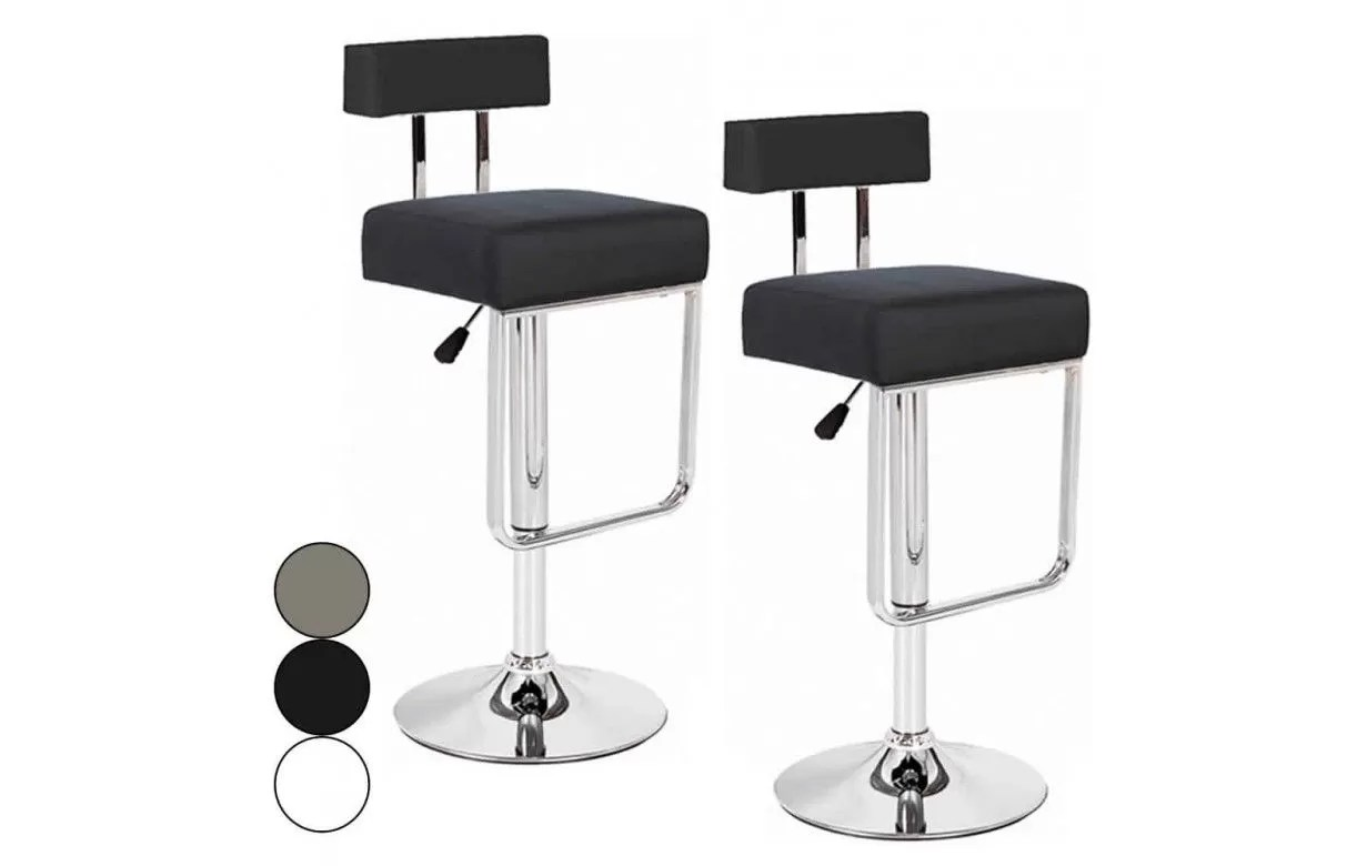 Lot De 2 Tabourets De Bar Blanc Lot De 2 Tabourets De Bar Simili Cuir Taupe Noir Blanc