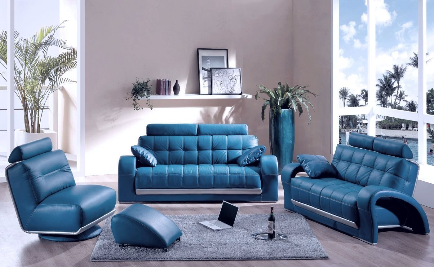 Sofa Set Color Blue Decoración Moderna Con Sofás Azules Imágenes Y Fotos