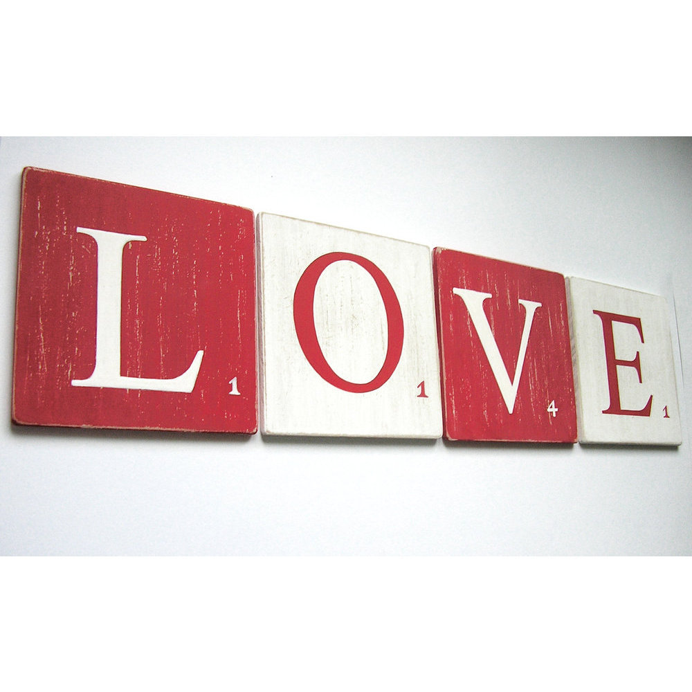 Decoration Lettre Murale Lettre 10 Cm Blanc Rouge