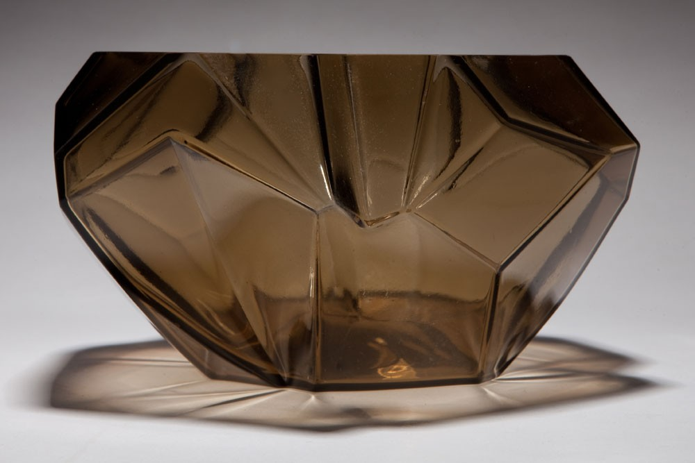 Aalto Vase Art Deco Ruba Rombic Topaz Glass Cupped Bowl | Objects