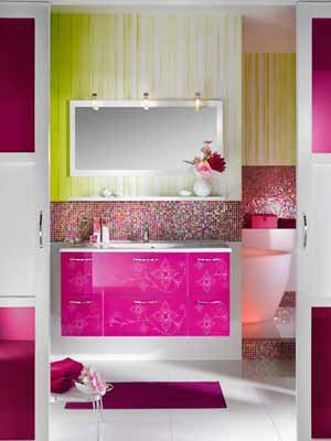 Green Black And White Striped Wallpaper Contemporary Bathroom Decorating Ideas Bright Purple And Pink