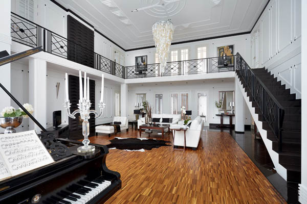 Living Room Color Schemes Luxurious House Design By Russian Architects, Black And