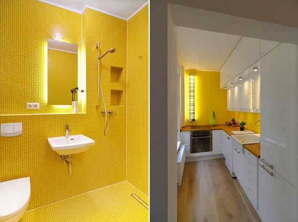 White Decorating With Yellow Color Accents Contemporary Apartment Ideas