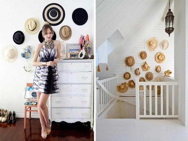 Cheap Black And White Wallpaper Fun Wall Decorating With Hats Adds Unique Accents To Home