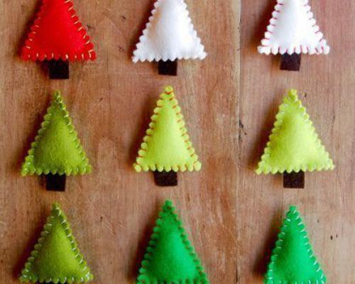 Wall Paint Style 22 Felt Christmas Crafts, Homemade Christmas Tree Decorations