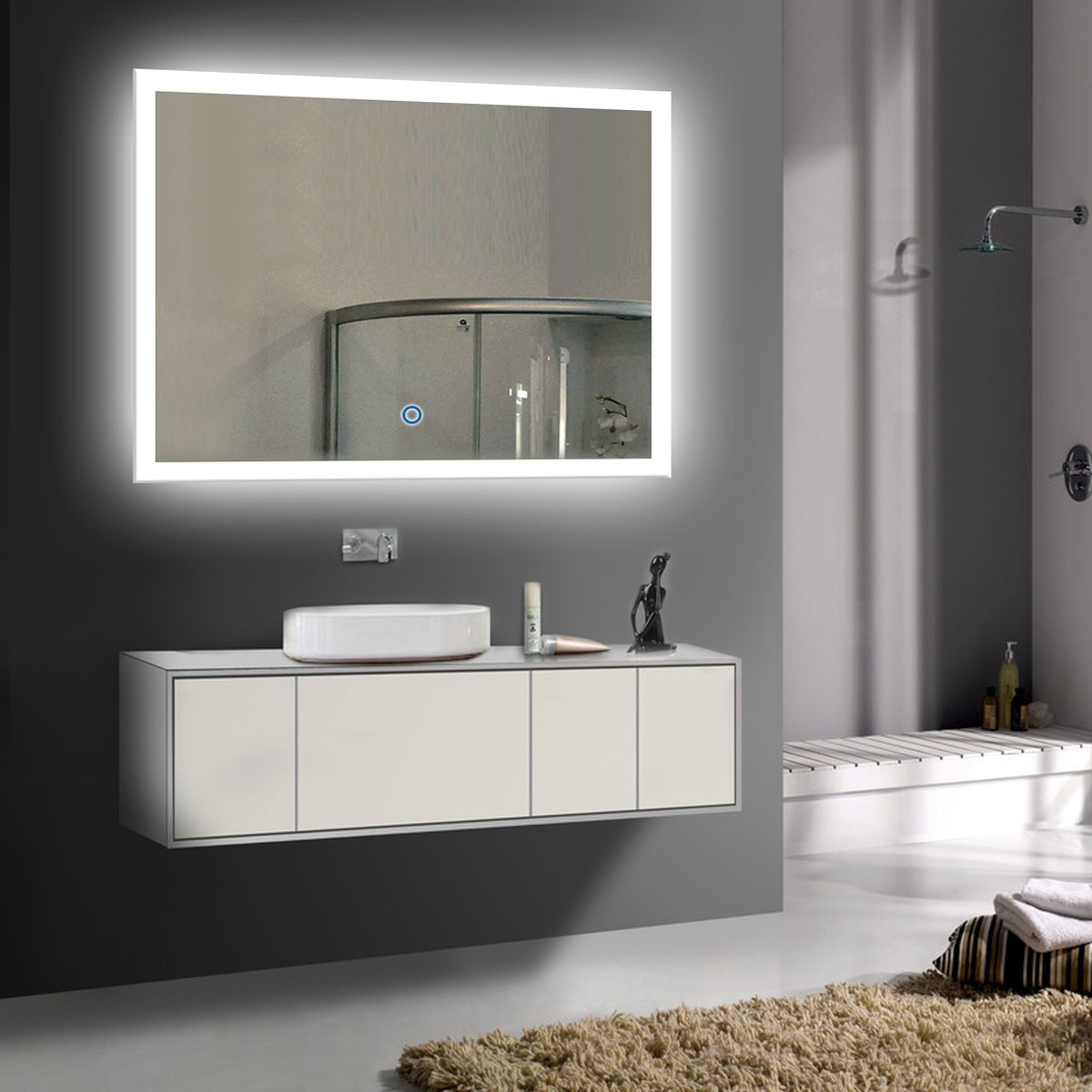 Meuble Salle Bain Liquidation 36 X 28 In Horizontal Led Bathroom Silvered Mirror With