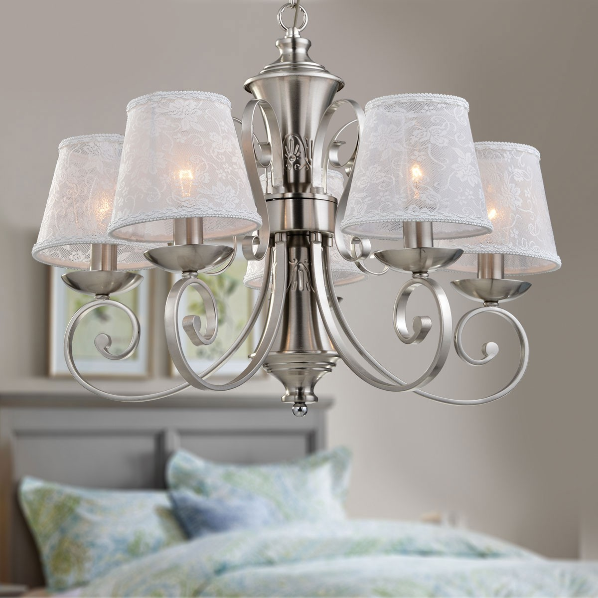 Canada Modern Lighting 5 Light Silver Iron Modern Chandelier With Fabric Shades
