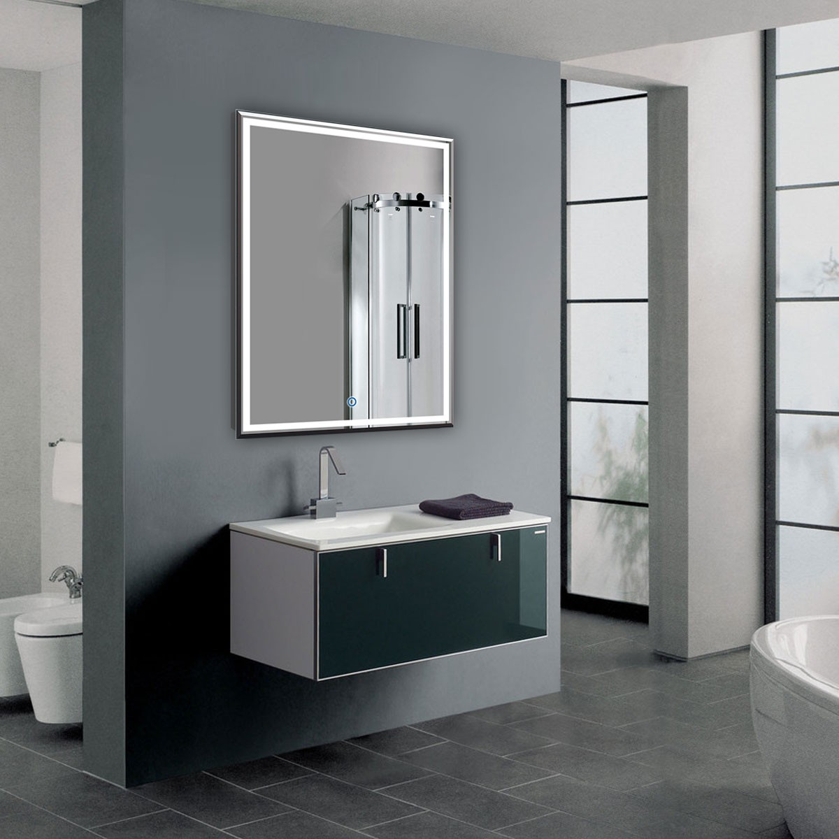 Bathroom Mirrors With Led Lights Sale 28 X 36 In Vertical Led Bathroom Silvered Mirror With