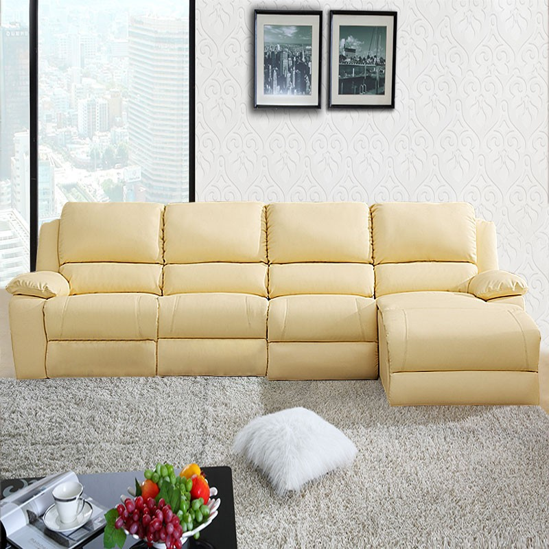 Chaise C Discount Beige Manual Recliner Sectional Sofa In Genuine Leather