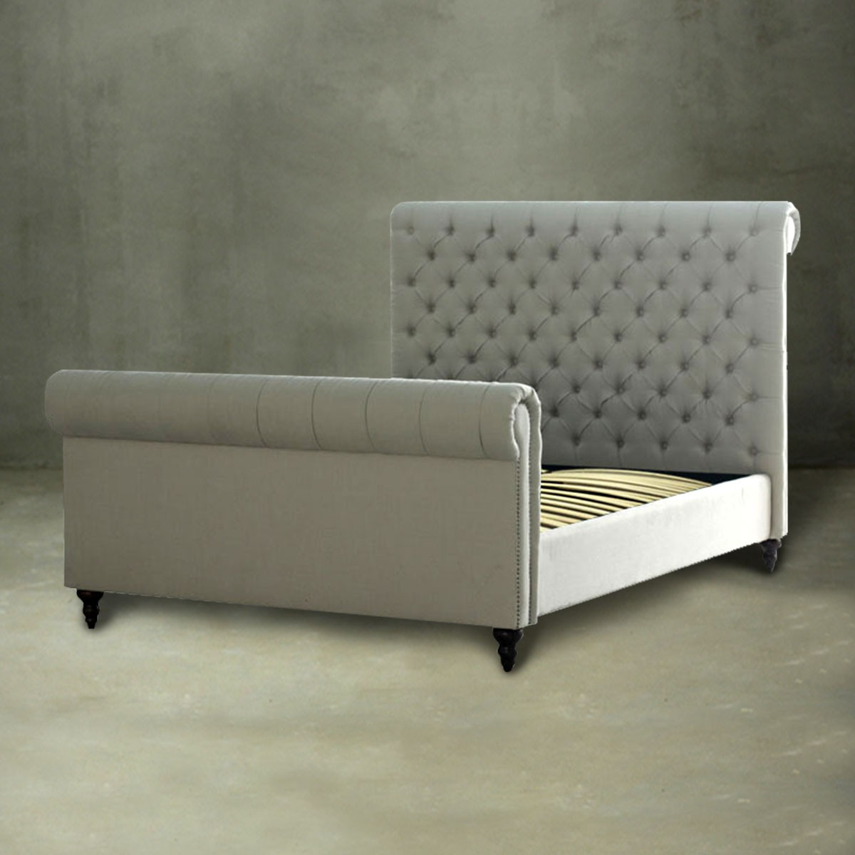 Fabric Beds Canada Queen Platform Bed With Tufted Upholstered Headboard