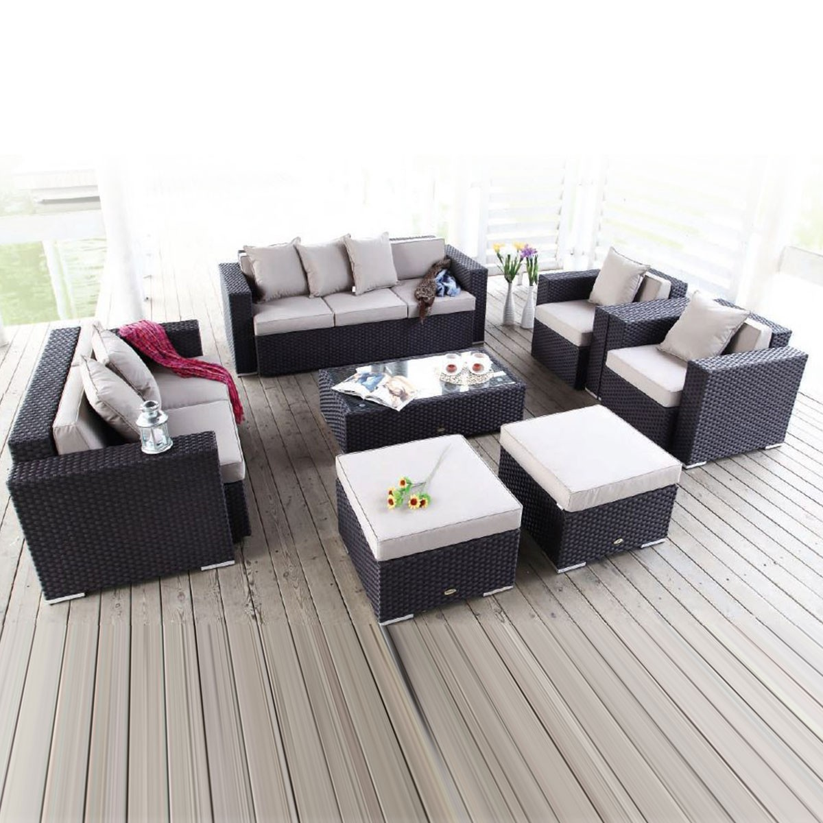 Rattan Sofa 7 Piece Pe Rattan Sofa Set 2 Lounge Chairs 1 Loveseat 1 Three Seater Sofa 1 Coffee Table 2 Ottomans Lls 231