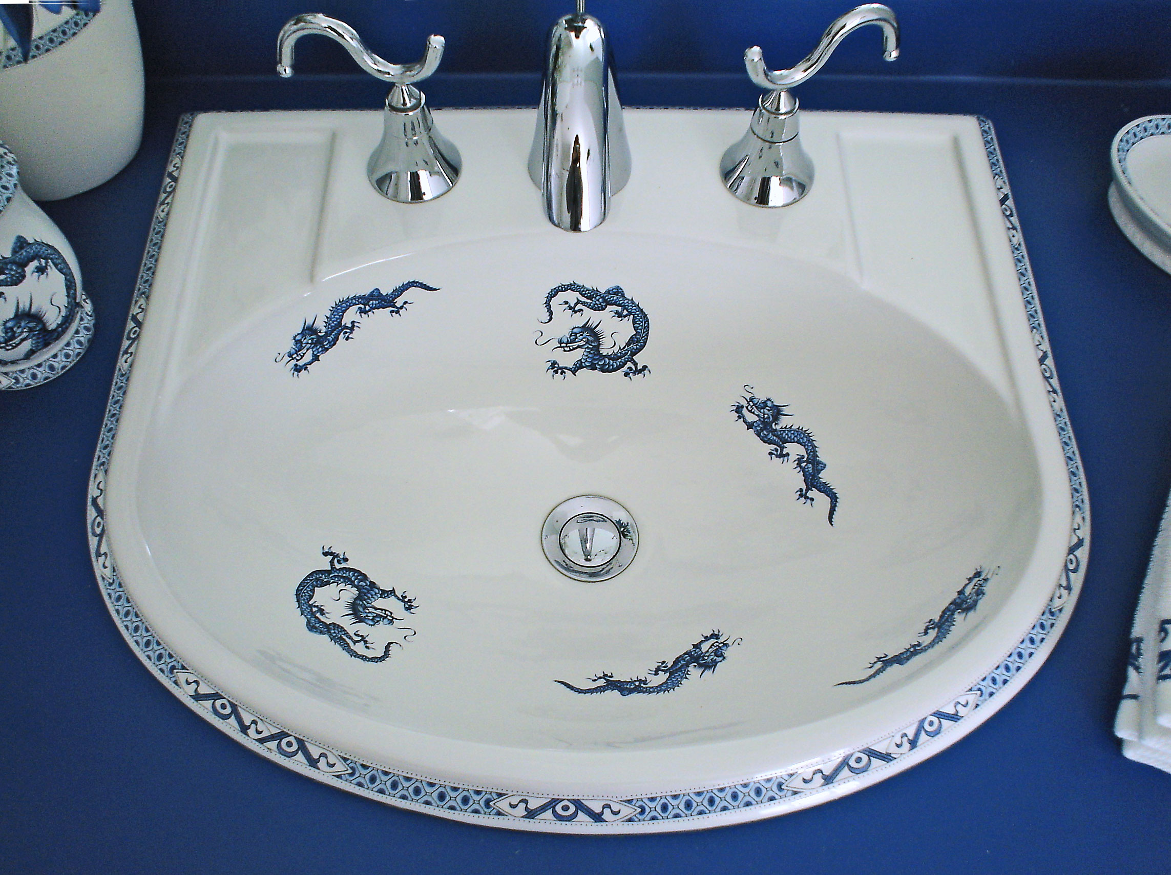 Dragon Bathroom Accessories Oriental Dragons In A Blue And White Bathroom The