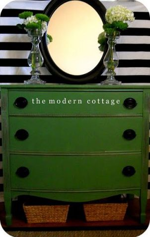 green dresser with dark hardware