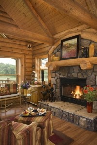 Rustic Living Room Design with Fireplaces