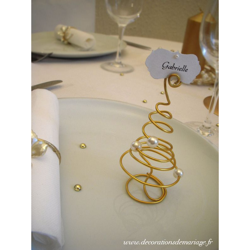 Cadre Photo Mariage Decoration Noel Or Perles Marque Place Sapin