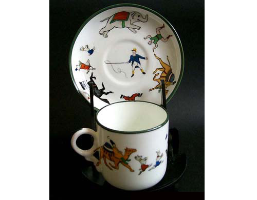 Medium Quimper Hammersley & Co.'s Circus Design Cup And Saucer [74] - £40