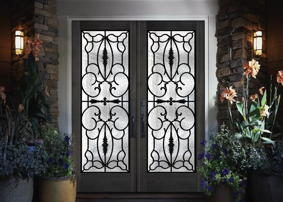 Glass Entry Doors Professional Iron Glass Entry Doors For Building Sound Insulation