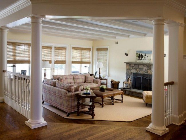 Rustic Round Coffee Table How To Use Living Room Columns To Create Rich Details