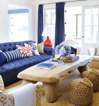 Navy and Coral Living Room - Decorchick!