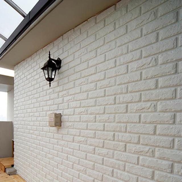 3d Wood Effect Wallpaper White New Embossed Pe Foam Brick Wall Sticker Decor City