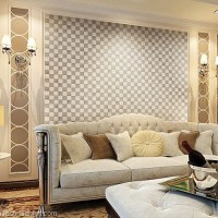 DecorGenius White Grey Leather Wall Tile Living Room Decor ...