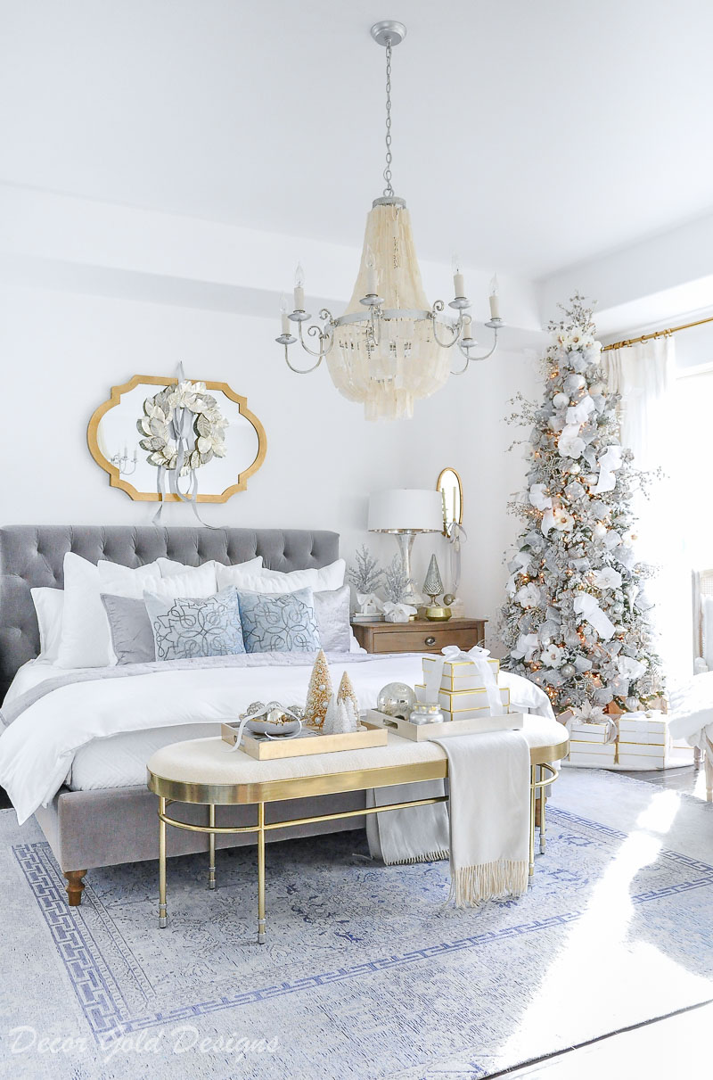 White Decoration Bedroom Winter White Christmas Bedrooms Decor Gold Designs