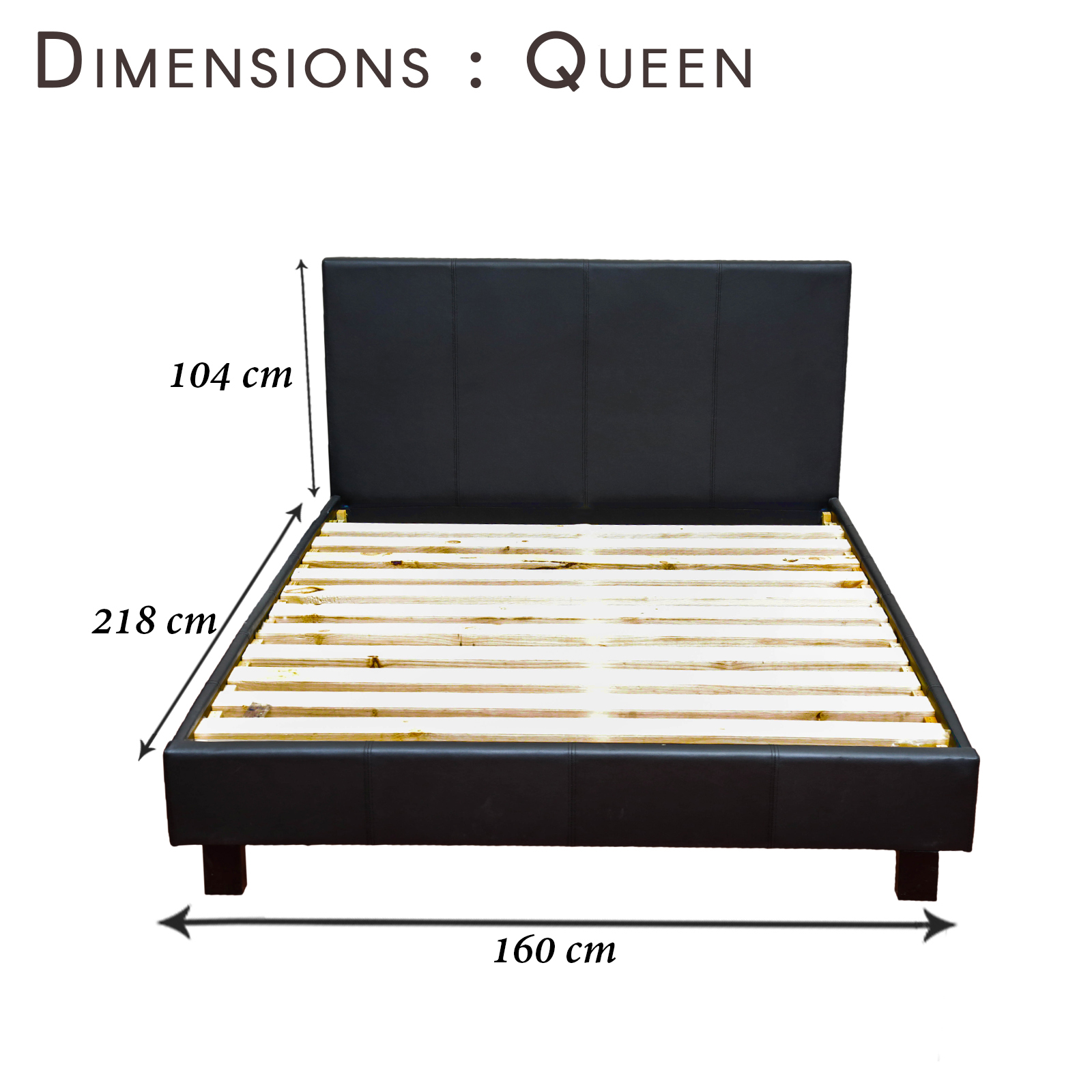 Queen Bed Frame Adelaide New Luxury High Matte Finished Queen Black Pvc Leather Bed