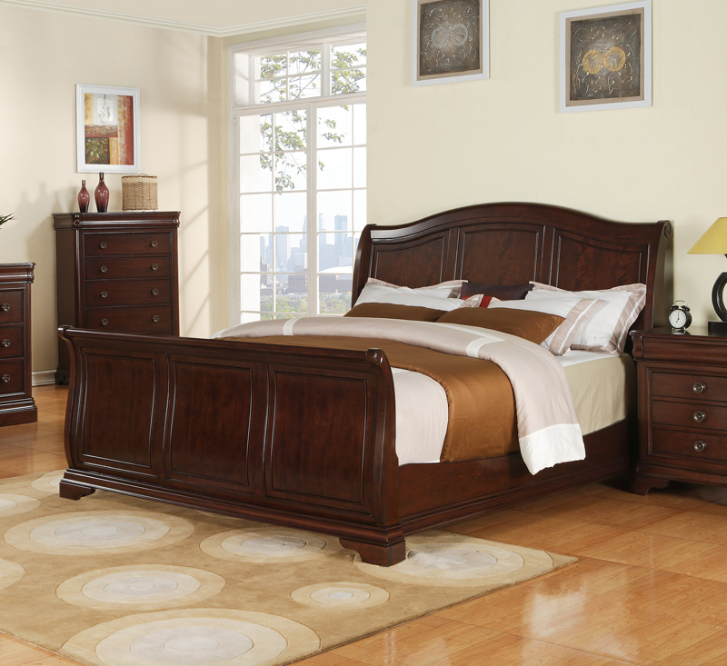 Decoration Bar Pub Cameron Sleigh Bed (dark Cherry Finish) - [cm750qsb