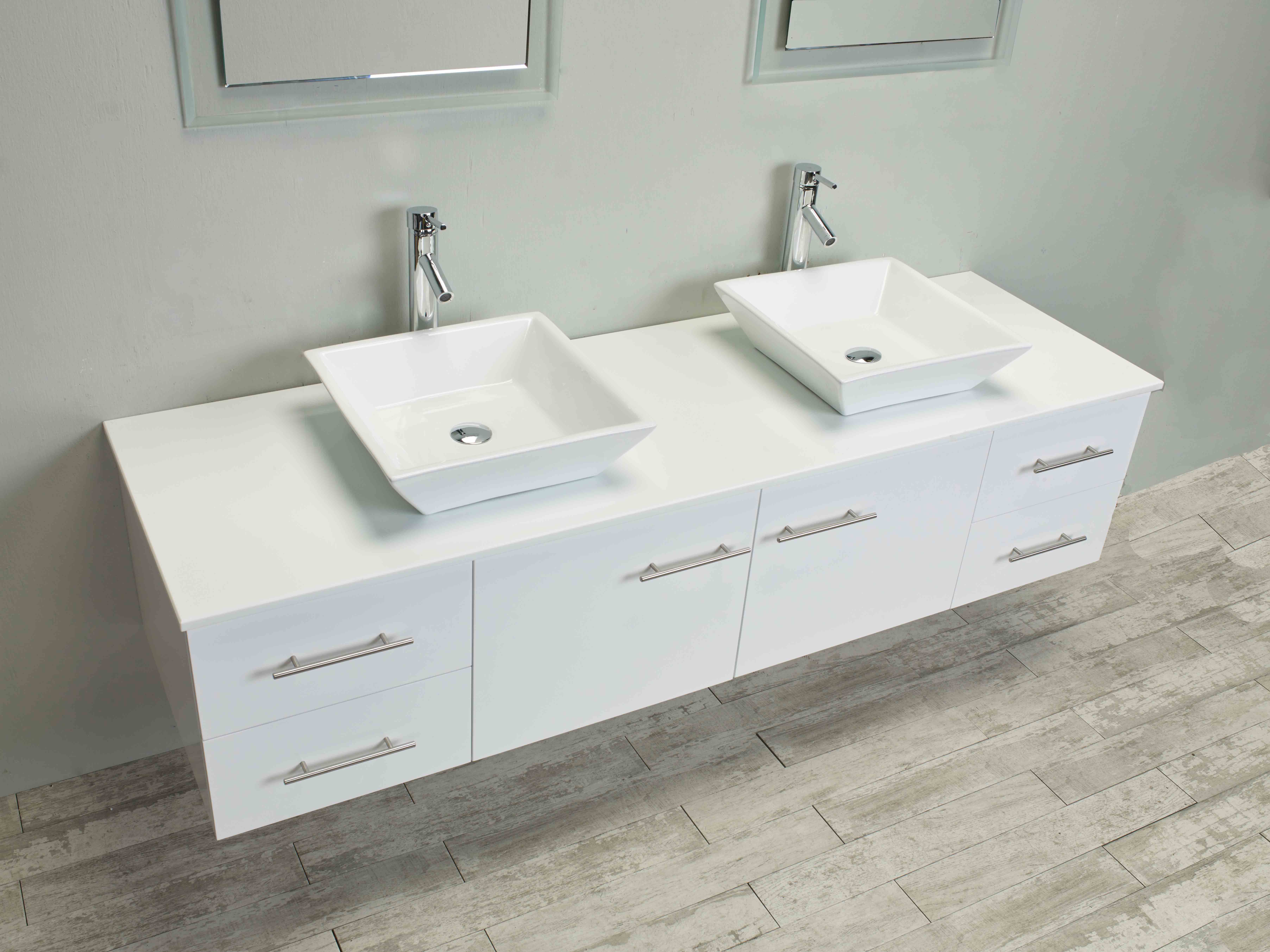Designer Toilets And Sinks Totti Wave 60 Inch White Modern Double Sink Bathroom