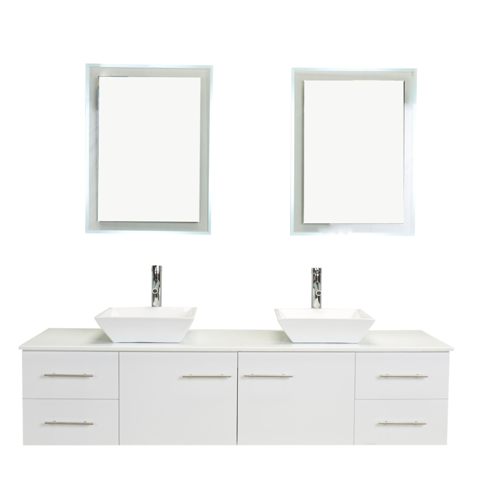 Bathroom Vanity 72 Double Sink Totti Wave 72 Inch White Modern Double Sink Bathroom Vanity With Counter Top And Double Sinks