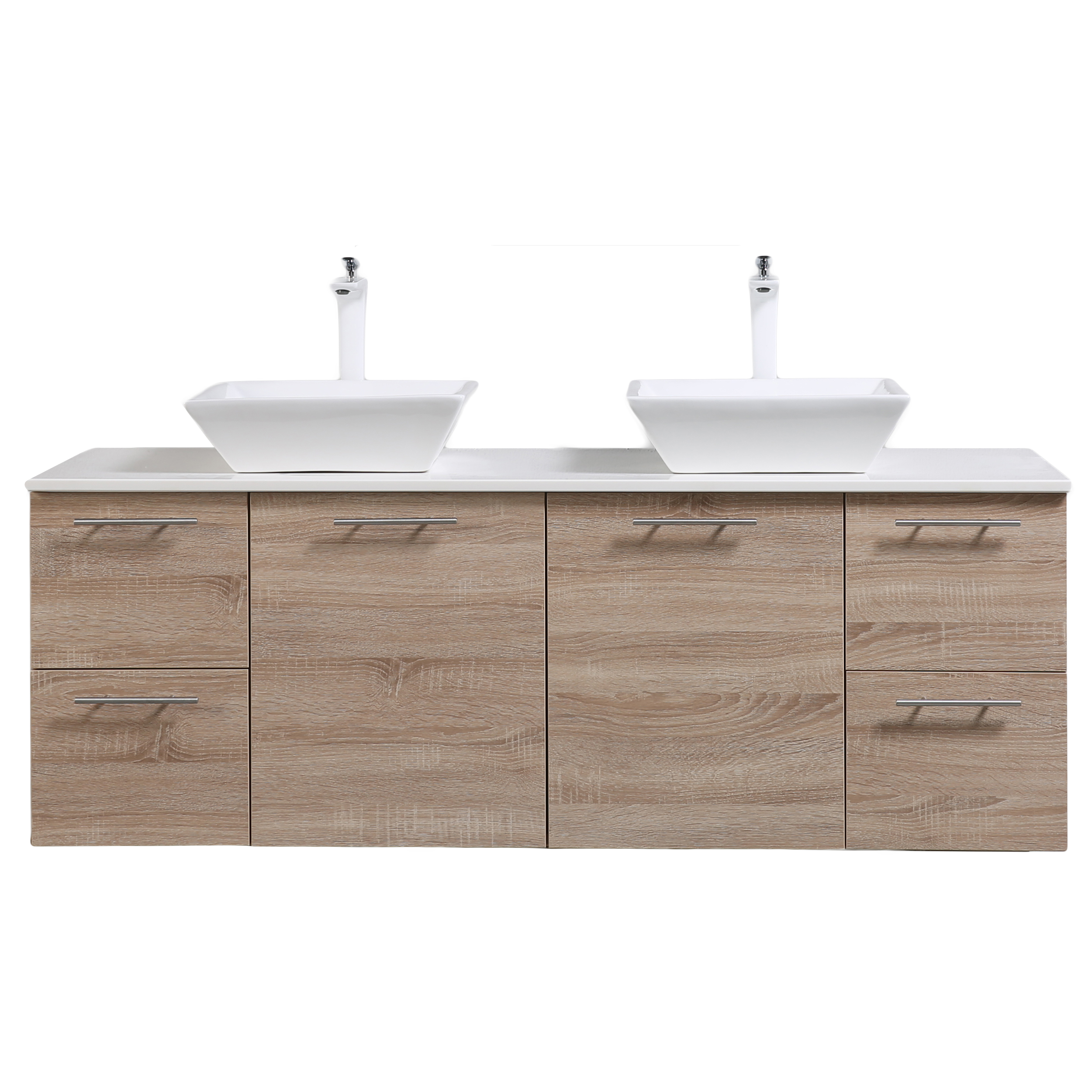 Eviva Luxury 60 Inch White Oak Bathroom Vanity With