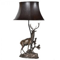 Standing Deer Lamp With Shade