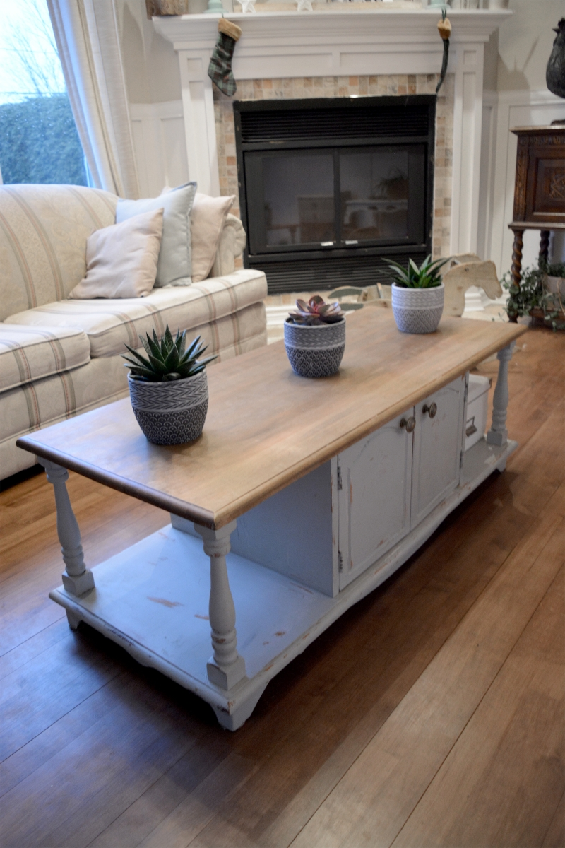 Shabby Chic Coffee Table Gray Wood