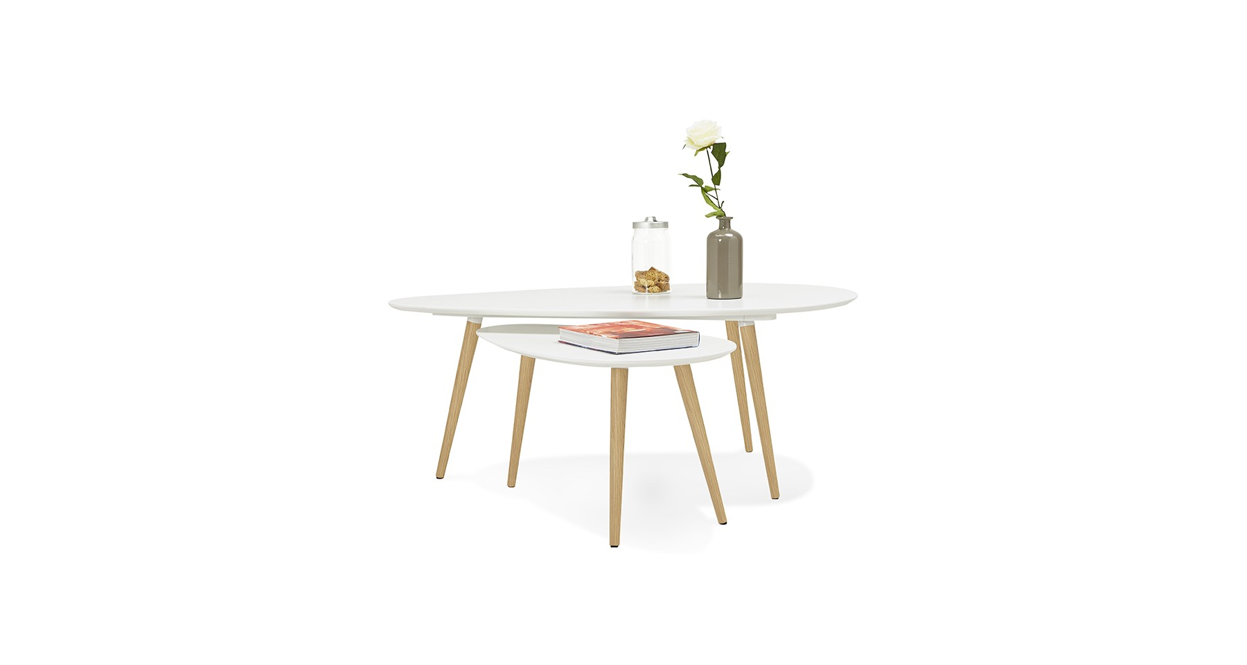 Table Basse Gigogne Blanc Set De 2 Tables Basses Gigognes En Bois
