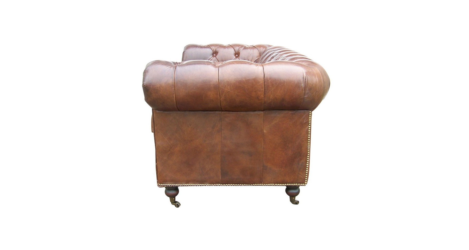 Chesterfield Convertible 2 Places Canapé Chesterfield 2 Places En Cuir Pleine Fleur Marron