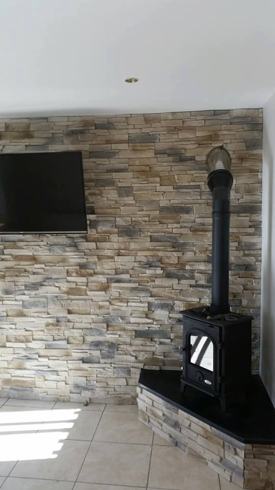 Feature Wall Wallpaper 3d Grenada Frost Feature Wall Stove Deco Stones