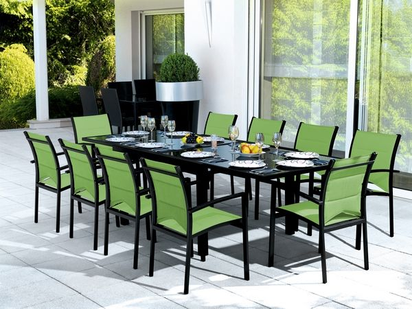 Table Exterieur Rallonge Salon De Jardin Table Modulo Noir/vert Anis 4 Places