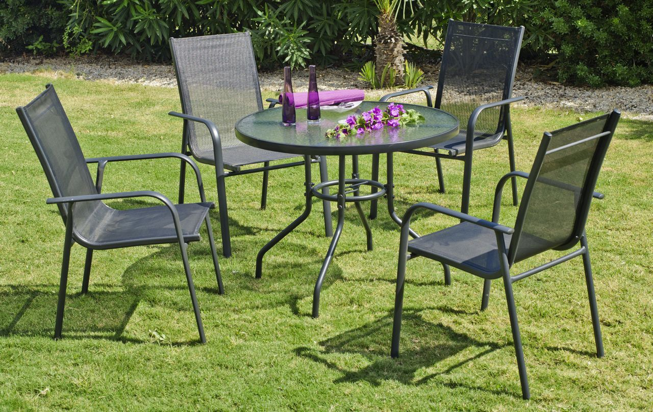 Salon De Jardin 1 Table 4 Fauteuils Salon De Jardin Aluminium Teluro Anthracite 4 Places 1 Table 4 Fauteuils