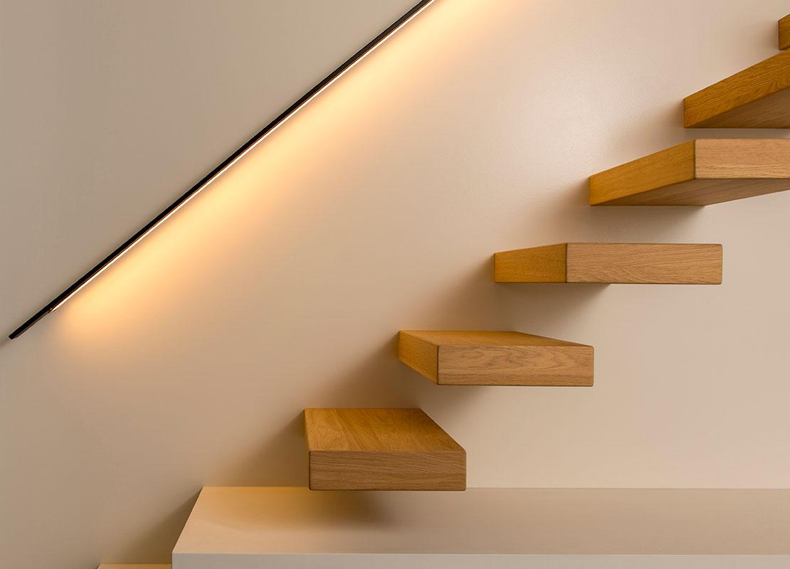 Verlichting in trap 6 stks twee beam geborsteld aluminium ingebed