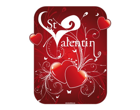 Porte Exterieur 34 X 80 Stickers Saint Valention Coeur Rouge, Sticker Explosion D