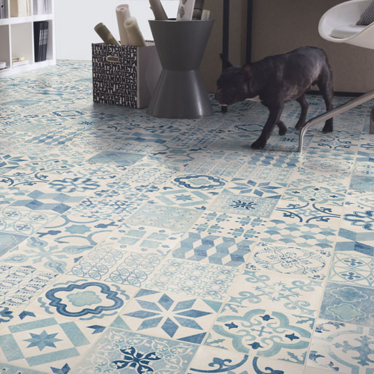 Dalles Gerflor Leroy Merlin Sol Pvc Lino - Imitation Carreaux De Ciment Bleu - Larg. 4m