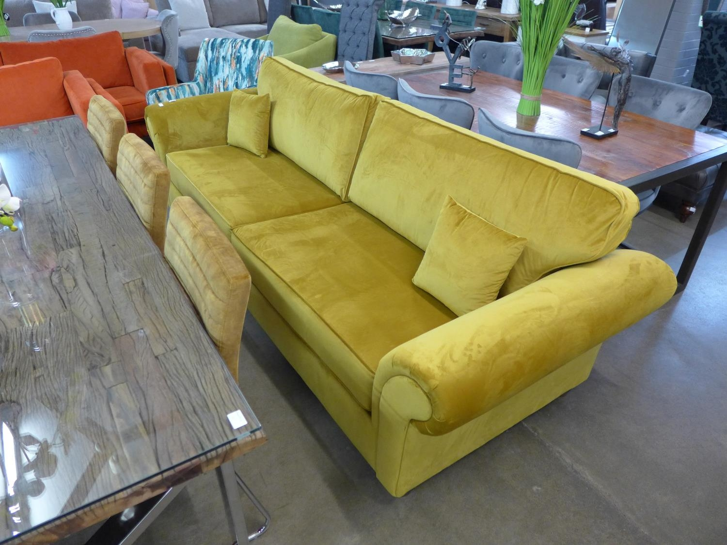 Couch Lila A Mustard Yellow Velvet Lila Four Seater Sofa