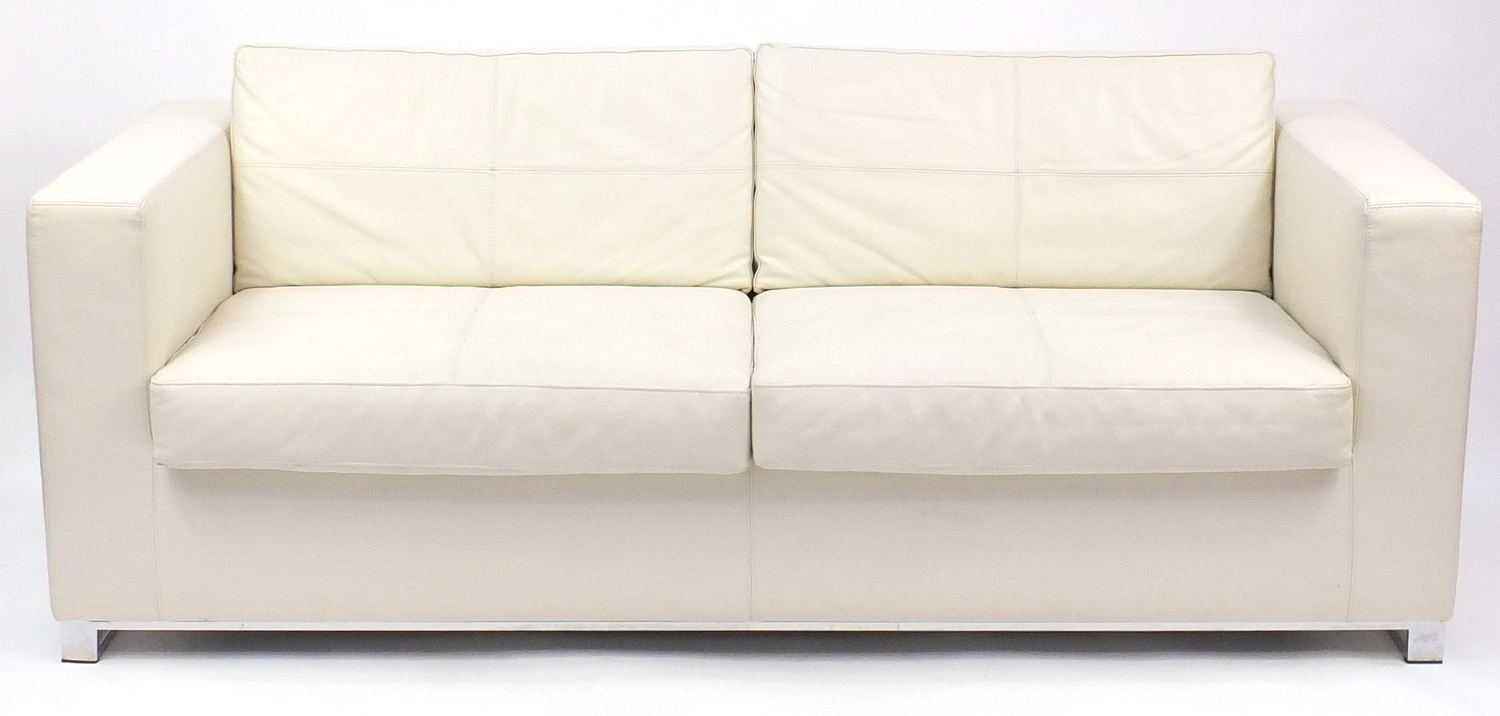 Sofa Bed Eastbourne Contemporary Habitat Cream Leather Sofa Bed With Chrome Feet 70cm