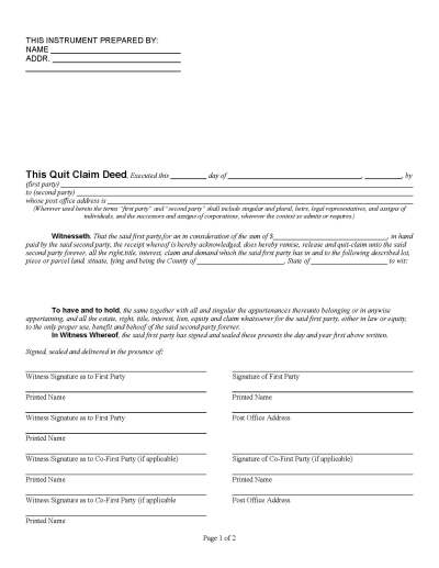 Florida Quit Claim Deed Form - Deed Forms : Deed Forms