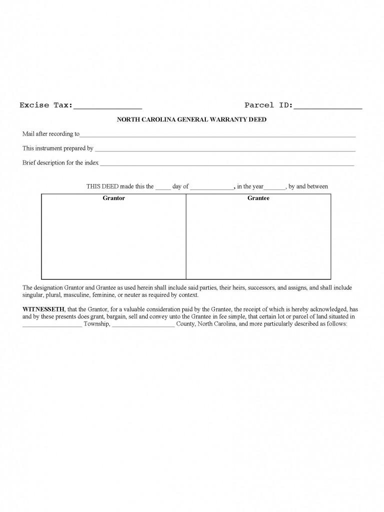 North Carolina General Warranty Deed Form - Deed Forms  Deed Forms