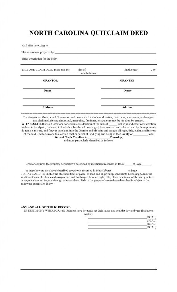 North Carolina Quit Claim Deed Form - Deed Forms  Deed Forms - Quick Claim Deed