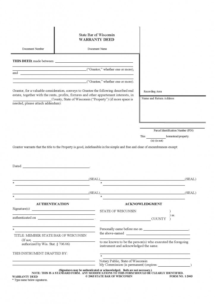 Wisconsin General Warranty Deed Form - Deed Forms  Deed Forms