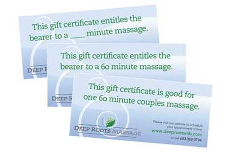 Gift Certificates Deep Roots Massage and Bodywork